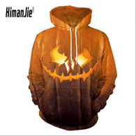 2018 Newest Christmas Halloween Gloomy Grimace Print Pullover Hoodies for Women/men Causal Loose Plus Size