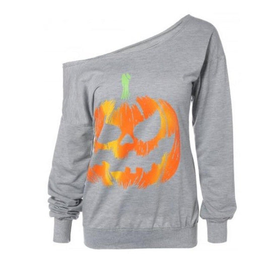 2018 Women Sexy Halloween Pumpkin Print Long Sleeve Sweatshirt
