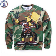 Camouflage and Bart Simpson Sweatshirts