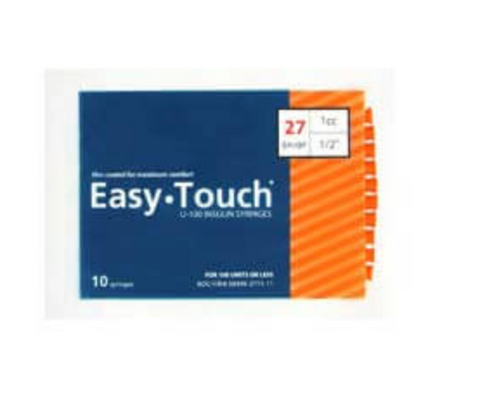 10 Pack Bag (10 Syringes) - EASYTOUCH 1CC, 27 GAUGE x 1/2""