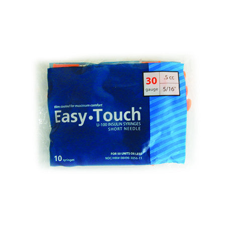 10 Pack Bag (10 Syringes) - EASYTOUCH 1/2CC, 30 GAUGE x 5/16""