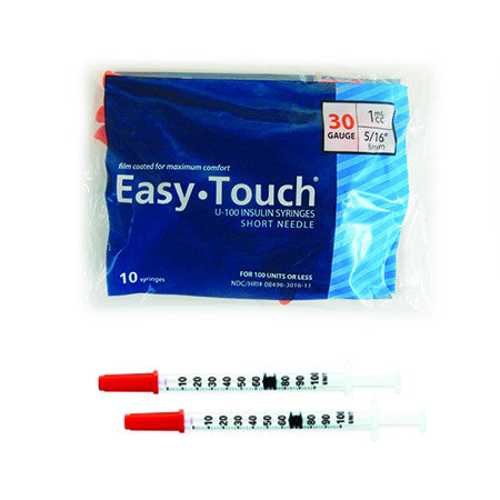 10 Pack Bag (10 Syringes) - EASYTOUCH 1CC, 30 GAUGE x 5/16""