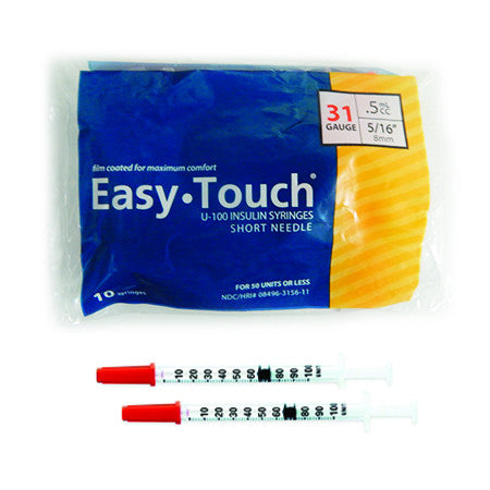 10 Pack Bag (10 Syringes) - EASYTOUCH 1/2CC, 31 GAUGE x 5/16""