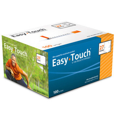 "EASYTOUCH INSULIN SYRINGE - 27G x 1CC  1/2"" needle length - BX 100"