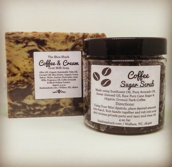 Coffee & Cream Soap or Coffee & Cream Soap & Coffee Sugar Scrub Gift Set! Smells of Good Mornings & Happiness!