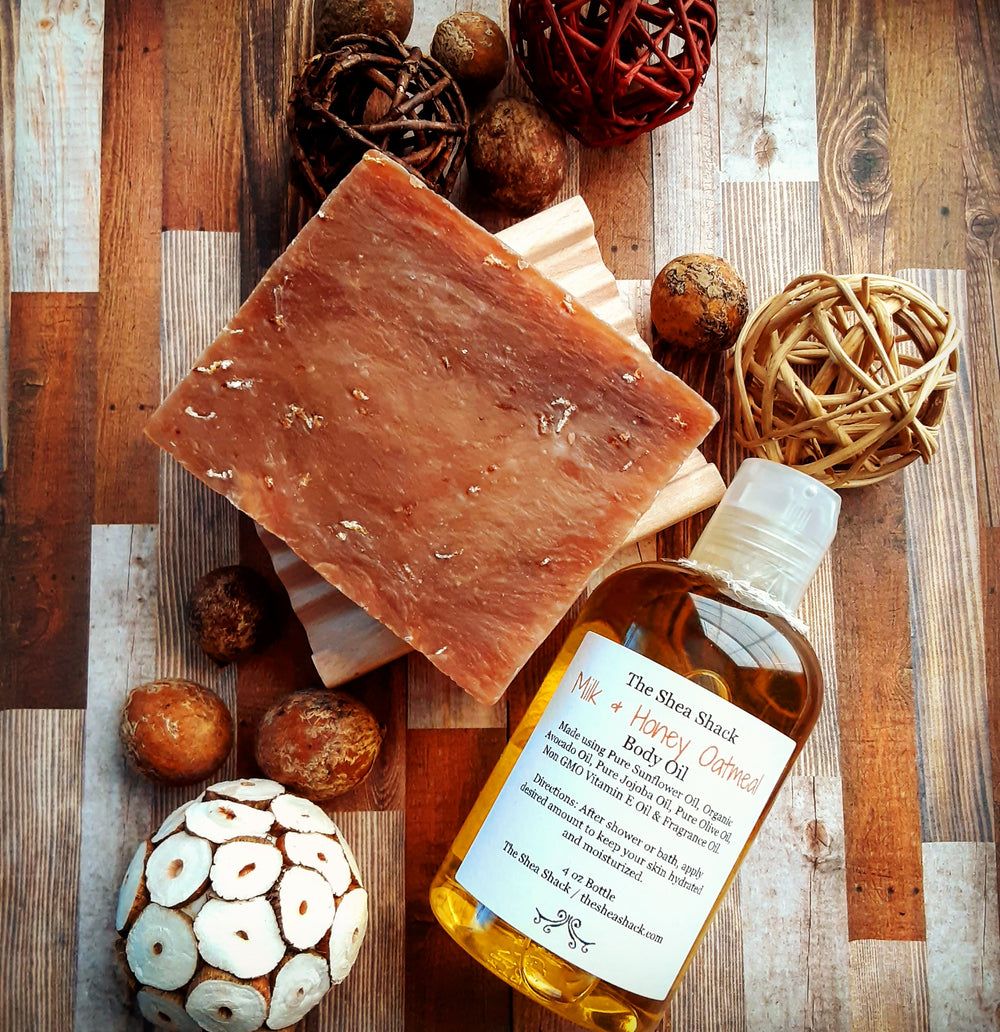 Milk & Honey Oatmeal Goat Milk Soap & Body Oil Set!