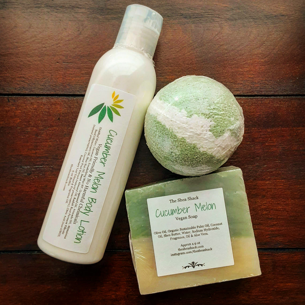 Cucumber Melon Lotion, Bath Bomb & Soap Gift Set