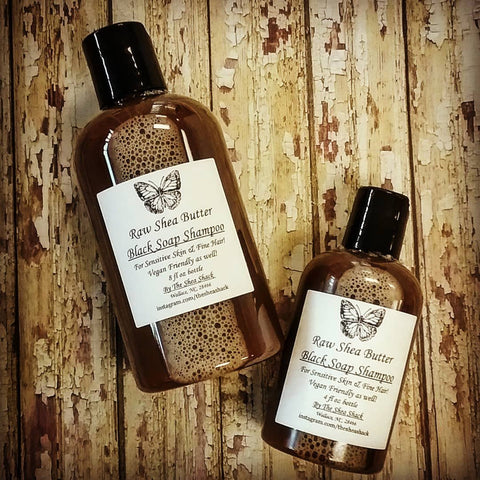 Black Soap Shampoo! No Chemicals, No Oils & Vegan Friendly! Can be used on FINE hair as well!