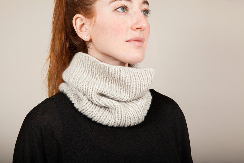 Clinton Hill Cashmere Bespoke Cashmere Pattern kit- Sophia Cowl Neckwarmer Knitting Kit- Worsted Weight Yarn