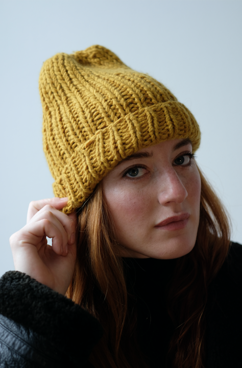 Clinton Hill Cashmere Bespoke Cashmere Pattern kit- Gold Street Hat Knitting Kit- Worsted Weight Yarn