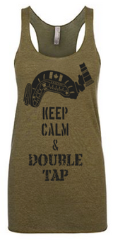 Keep Calm & Double Tap Ladies Racerback Tank