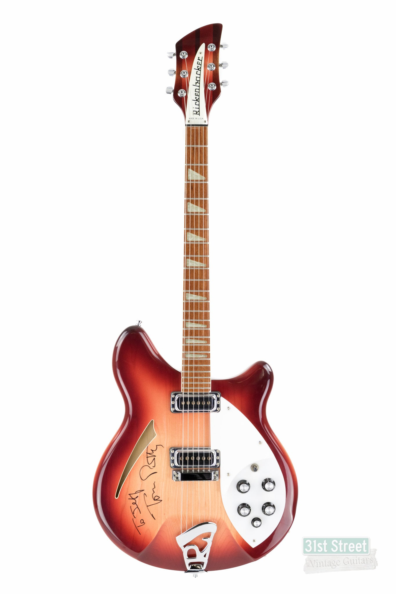 rickenbacker 360 fireglo 1995 tom petty autographed 31st street vintage guitars. Black Bedroom Furniture Sets. Home Design Ideas