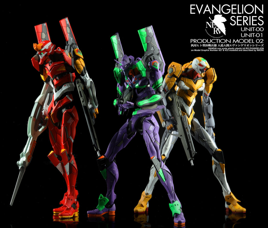 RG Evangelion Series: Prototype-00, Unit-01 and Unit-02 modify build