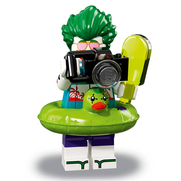 The Joker is always prepared for mischief. Even his vacas include toxic popsicles and laughing gas floaties.