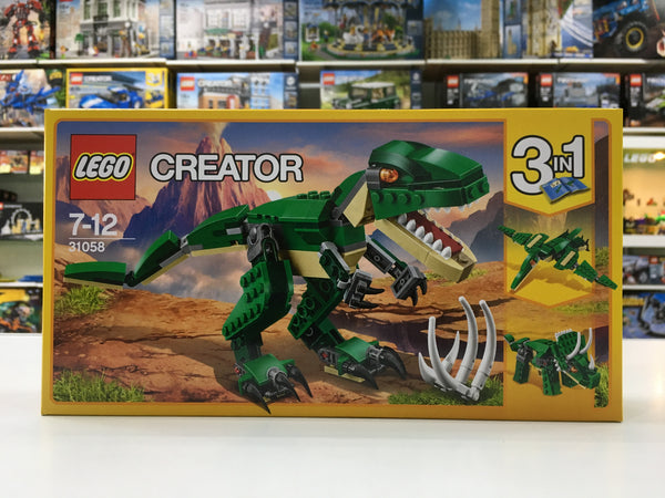 LEGO Creator 31058 Mighty Dinosaurs - Have fun with the awesome T. rex, featuring a dark-green and beige color scheme, bright orange eyes, posable joints and head, large claws and an opening mouth with pointed teeth.