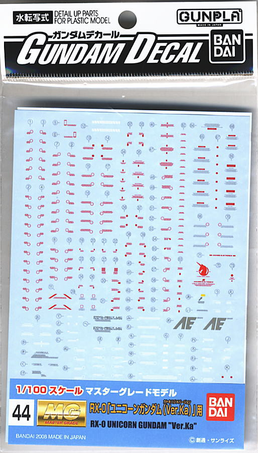 Gundam Decal No.44 for MG Unicorn Ver.Ka