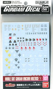 Gundam Decal No. 107 (HGUC) for Mobile Suit Gundam UC Series 1