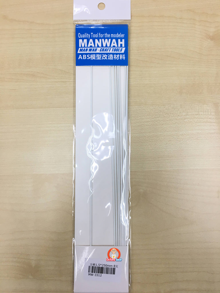 Manwah Craft Tools ABS Beam Square White (1.5mm)(Solid)