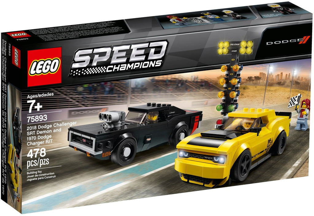 LEGO 75893 2018 Dodge Challenger SRT Demon and 1970 Dodge Charger R/T