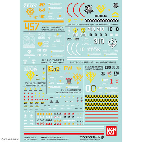 Gundam Decal No.110 Mobile Suit Gundam MSV Standard Type (Series 1)
