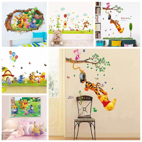 3D Baby Bear cartoon Winnie Pooh bedroom decals wall stickers for kids rooms