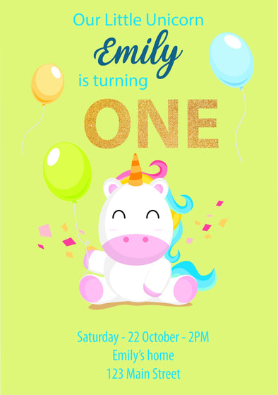 Little Unicorn Birthday Invitation