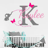 Customize Name Elephant Butterfly Wall Stickers For Kids Room