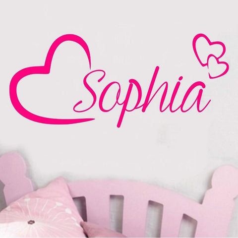 Personalised Name Wall Art Love Hearts Vinyl Nursery Sticker