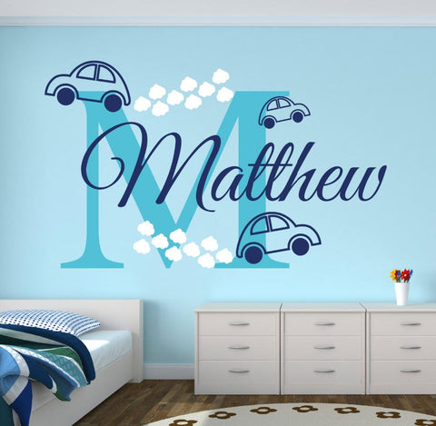 Personalized Name Cars Wall Stickers For Nursery