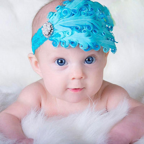 Baby Feather Flower  Head Band