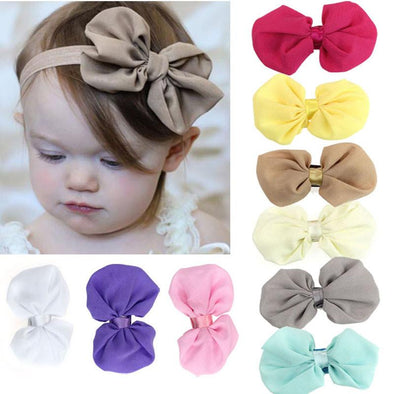 9PCS New Fashion Baby Girls Chiffon Bow Headband - Bubs Factory