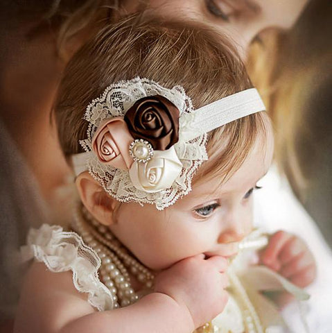 Rose Flower and Pearl Ring Headband