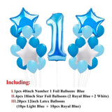 25pcs 1st Birthday Blue & Pink Foil Balloons Decoration - Bubs Factory