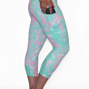 Mint and Pink Marble - Pocket Capri