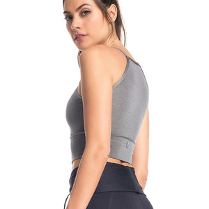 GRAY HOOP SPORTS BRA