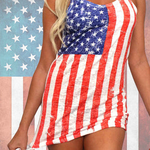 Shore Trendz Women's USA Distressed Flag Burnout Tank Dress Cover-Up