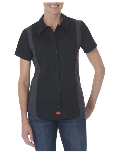 Dead Crow Customs Custom Work Shirts -Dickies FS524 Women's Industrial Short Sleeve Color Block Shirt