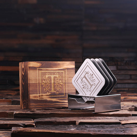 Stainless Steel Square Coasters with Wood Gift Box