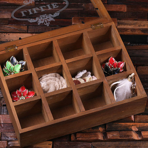 Wood Glass Organizer Container