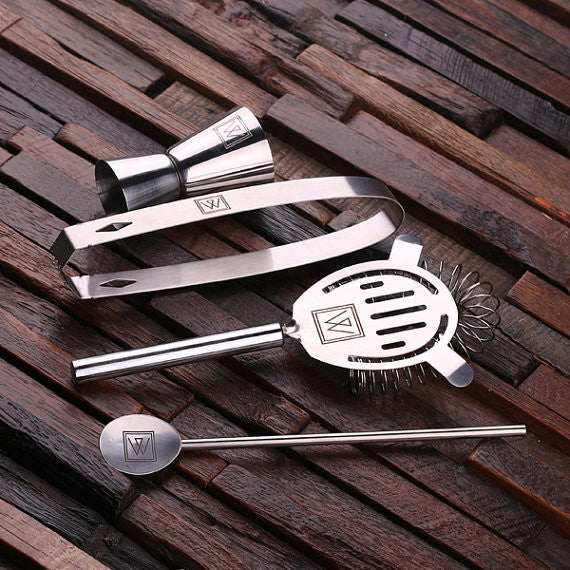 Monogrammed 5 pc. Stainless Steel Cocktail Set