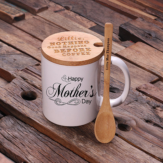 Personalized 12 oz. Coffee Mug with Lid & Teaspoon