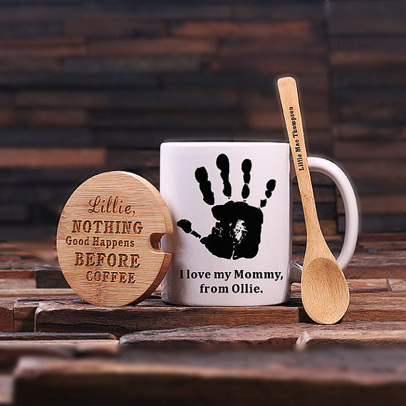 Child's Handprint w/Lid & Spoon