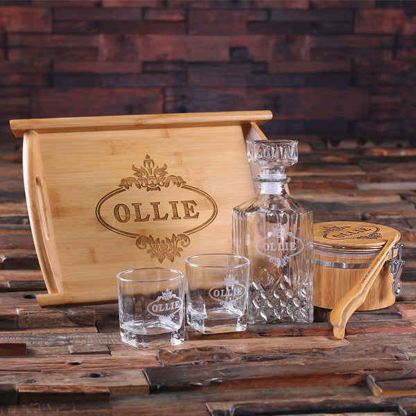 Whiskey Decanter Set with Ice Bucket with Tongs, Whiskey Glasses, Wood Tray