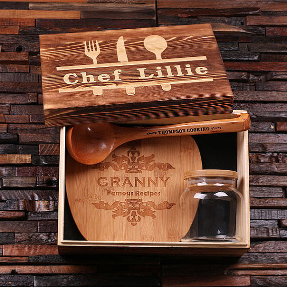 Culinary Gift Set - Cutting Board, Canister, Ladle