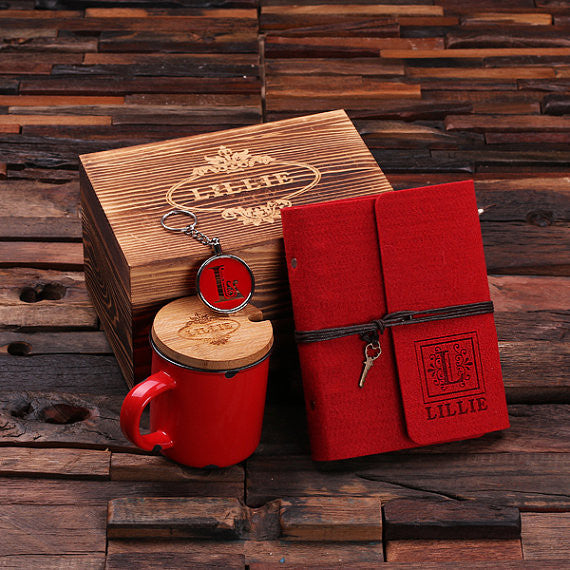 4 pc Gift Set w/Keepsake Box – Journal, Key Chain, Mug
