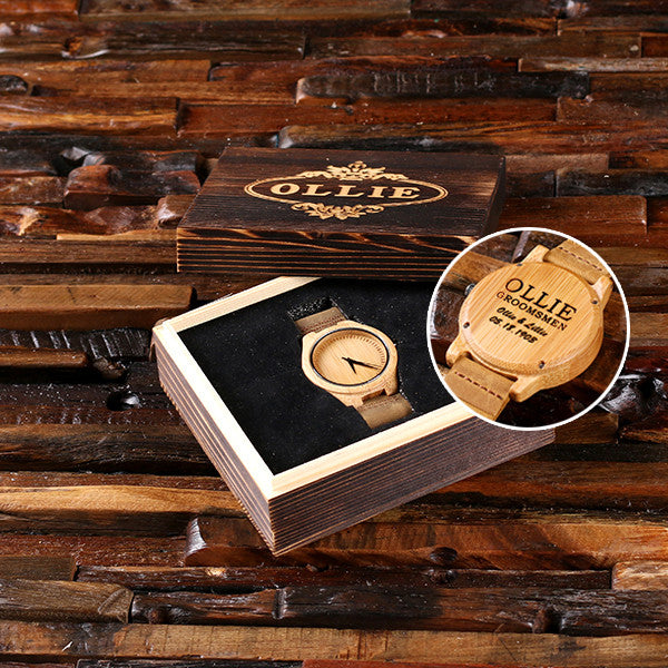 Wood Watch with Engraved Wood Box