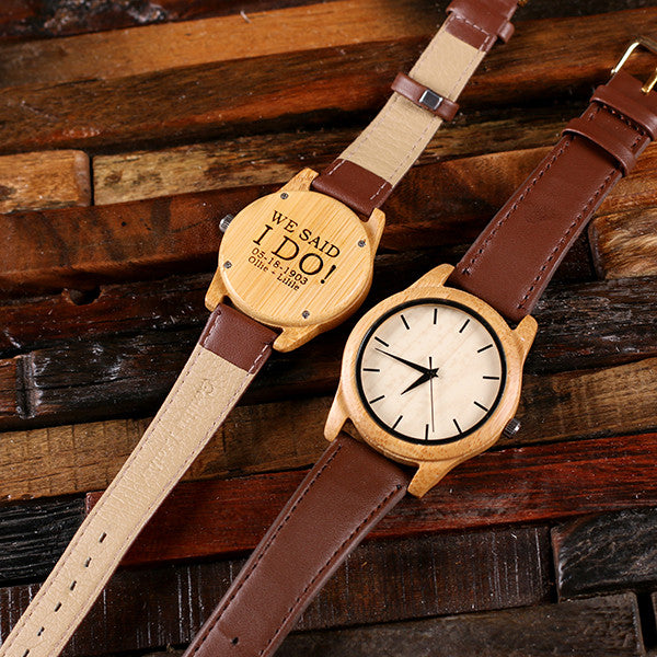 His & Hers Engraved Wood Watch Bamboo Leather Straps with Engraved Box