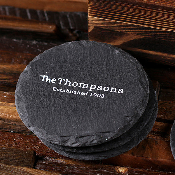 Round Slate Coasters w/ Engraved Wood Box