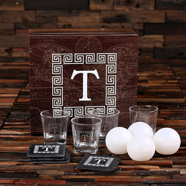 Whiskey Ball, Whiskey Glasses, Slate Coasters (Ice Ball Maker Mold), Printed Wood Box