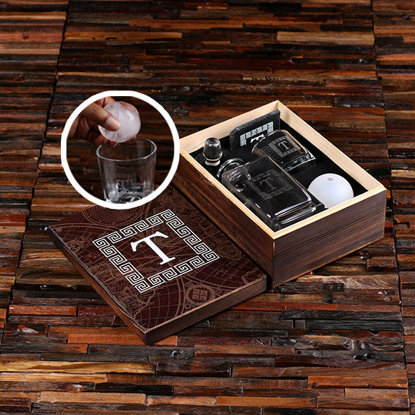 Whiskey Ball, Decanter, Whiskey Glass, Slate Coaster (Ice Ball Maker Mold), Printed Wood Box
